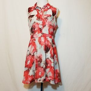 Lola Floral Collared Sleeveless Cutout Dress Sz L